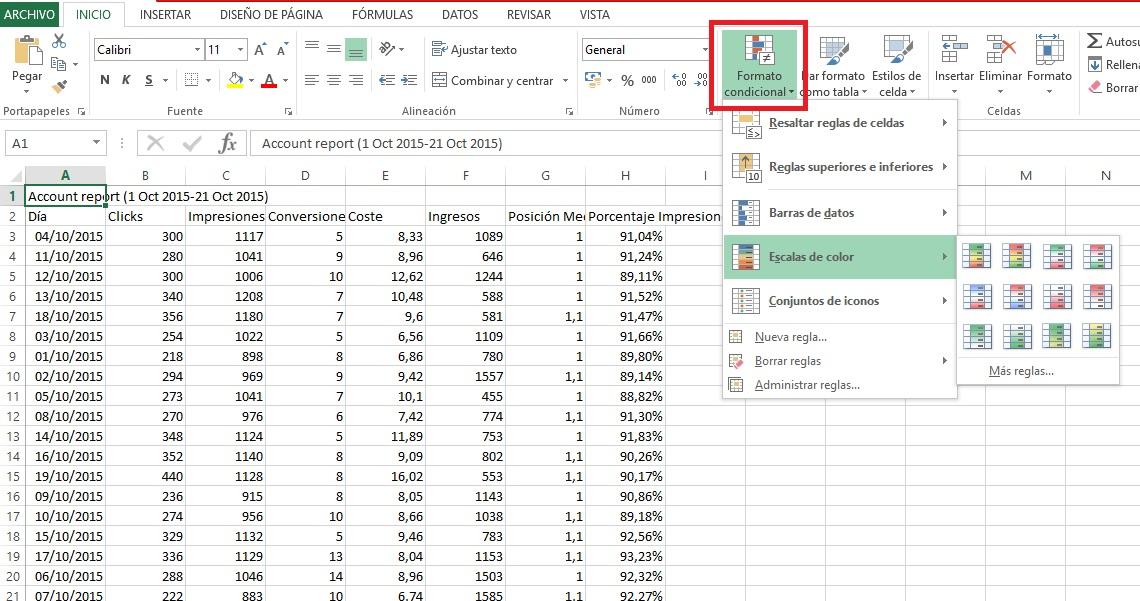 Formato condicional de Excel